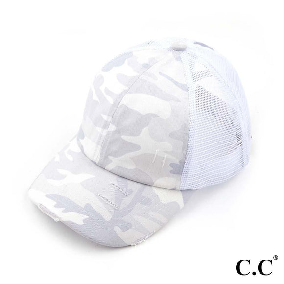 White Camo Cap | Criss Cross High Ponytail | C.C Exclusive Brand