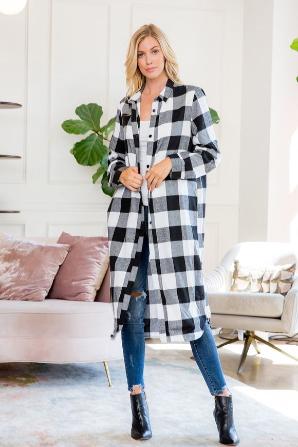 Black+White Plaid Shirt Cardigan