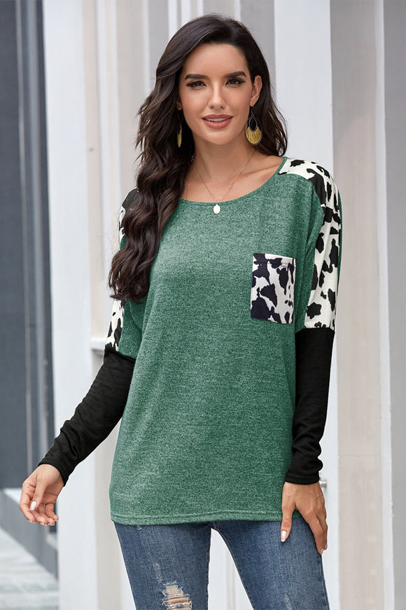 Green+Cow Print Top
