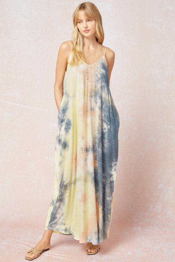 Peach+Teal Tie Dye Dress