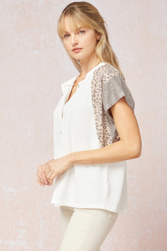 Button Leopard Top | Off White