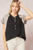 Button Leopard Top | Black
