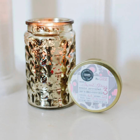 Sweet Grace Candle | 4.4 oz. Small Gold Patterned Glass Jar