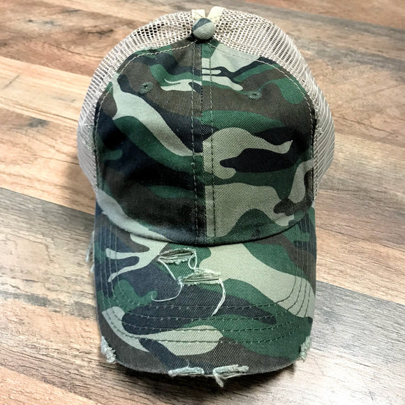 Distressed Camo | High Ponytail Cap