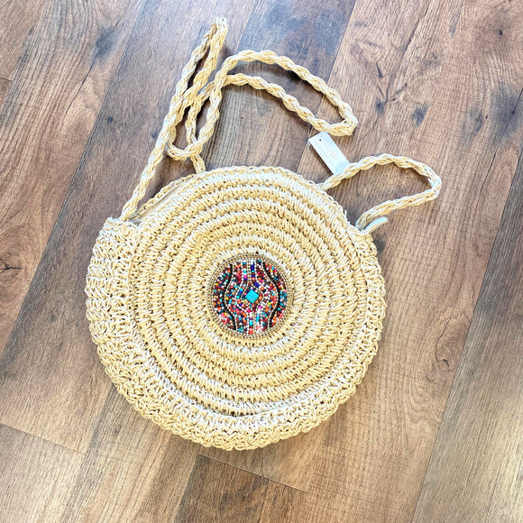 Beaded+Turquoise Round Rattan Shoulder Bag