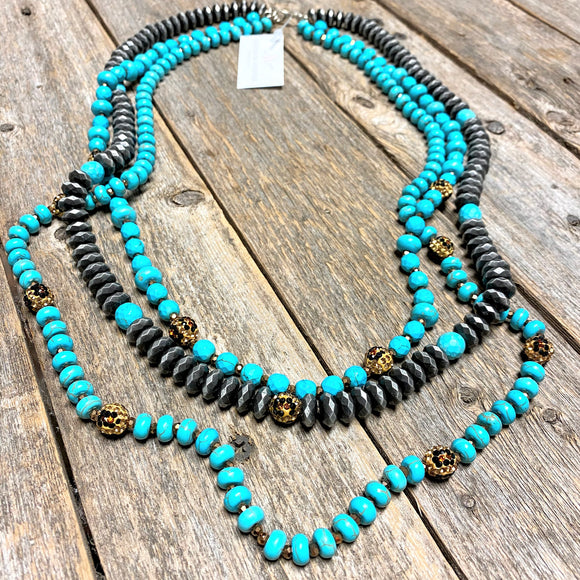 Layered Trio Necklace | Leopard+Turquoise+Silver