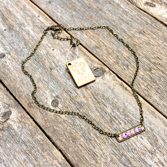 AB Crystal | Bar | Bronze Necklace | Pink Panache