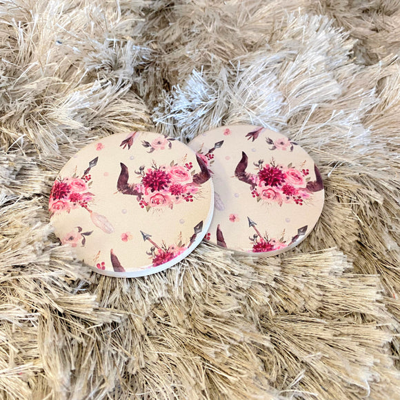 Ceramic Car Coasters | Floral Bull