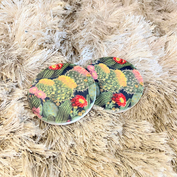 Ceramic Car Coasters | Cactus Blossom