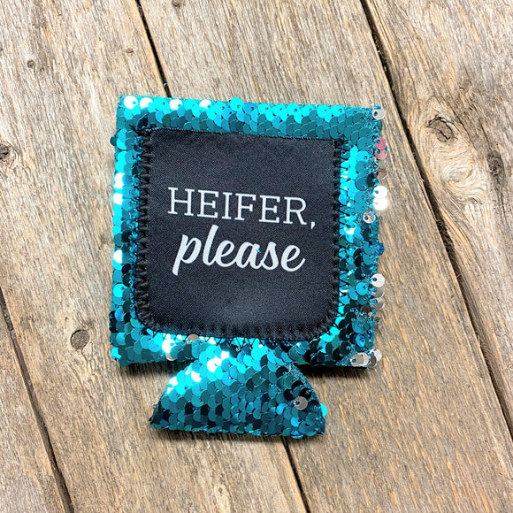 Heifer Please Sequin Koozie with Pocket!