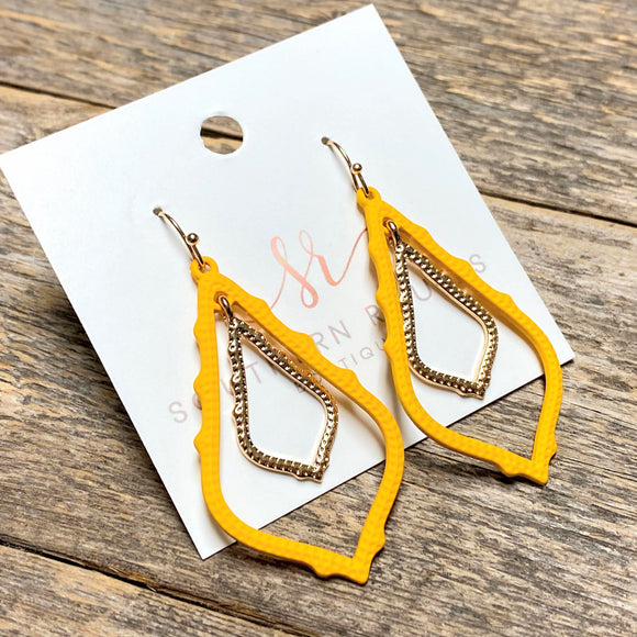 Matte+Gold Layered Earrings | Yellow