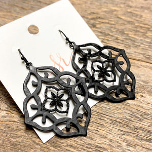 Black Ornate Filigree Earrings