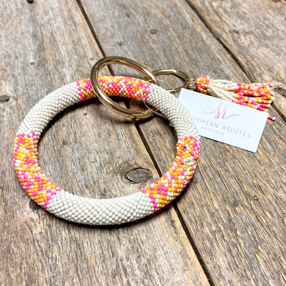 Seed Bead Bangle Keychain | Neon Pink