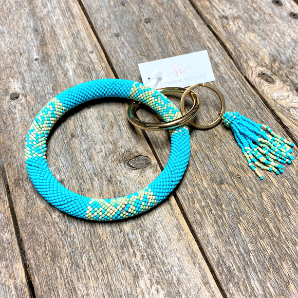 Seed Bead Bangle Keychain | Turquoise