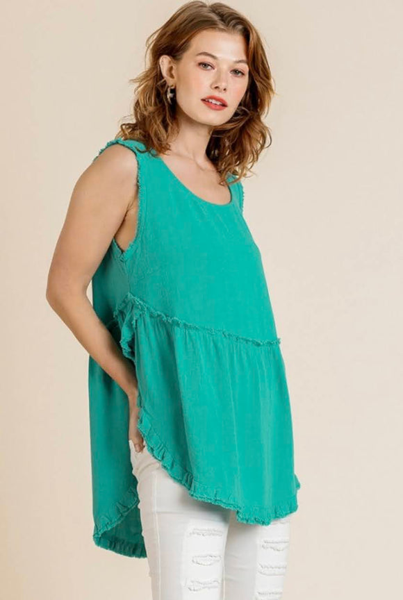 Fringe+Scoop Linen Tank | Mint Blue