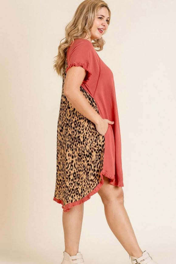 Leopard Scoop Linen Dress | Sunrise