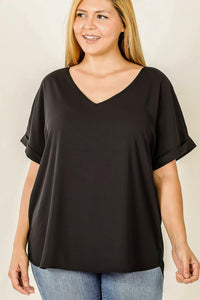Simple V-Neck Blouse | Black