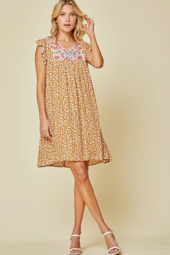 Marigold Floral Embroidery Dress