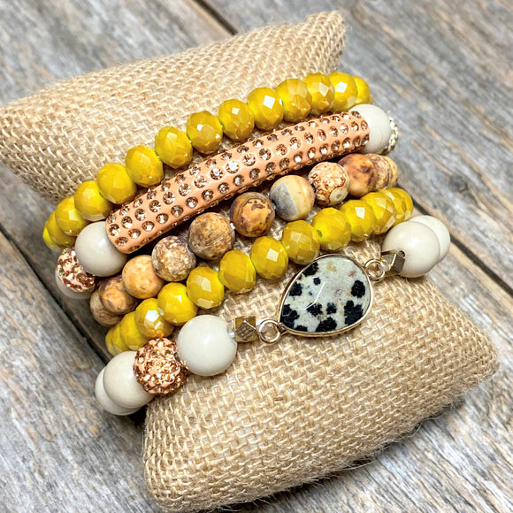 Mustard+Beige | Beaded Bracelet Set