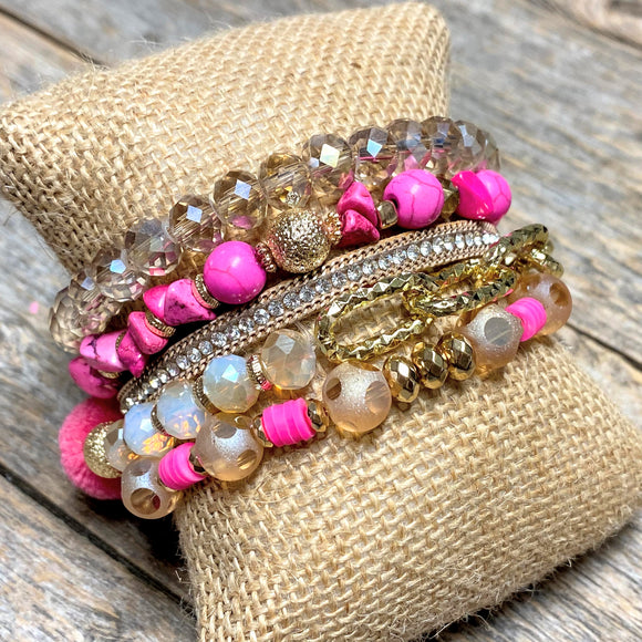 Hot Pink+Champagne | Beaded Bracelet Set