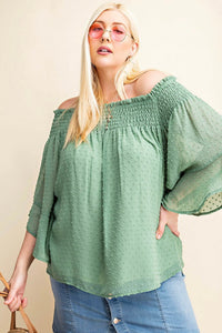 Swiss Dot Chiffon Off-The-Shoulder Top