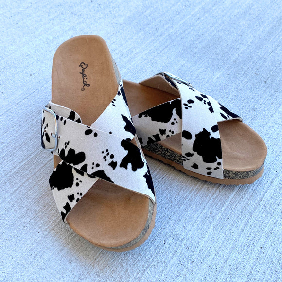 Cow Criss Cross Sandals