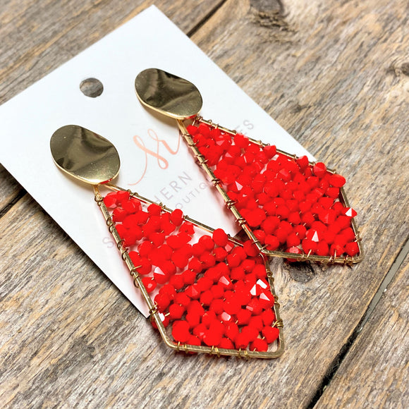 Beaded Triangle Earrings | Red