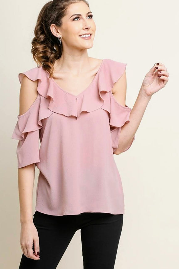 Dusty Rose Open Shoulder Ruffle Top