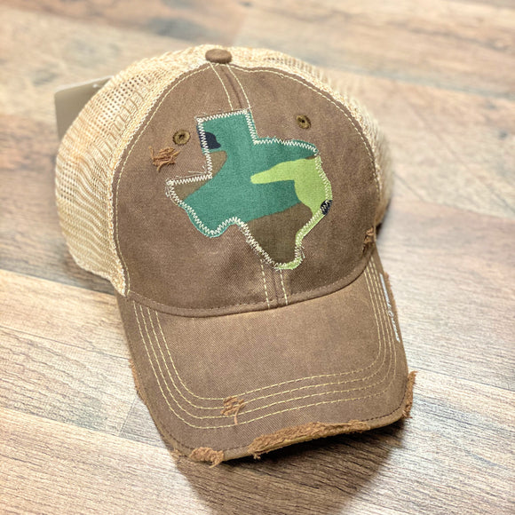 Brown Dirty Trucker Cap | Texas Camo