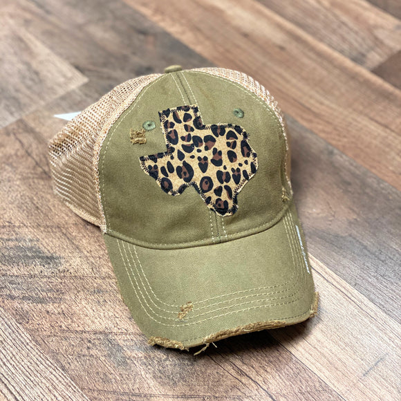 Olive Dirty Trucker Cap | Texas Leopard
