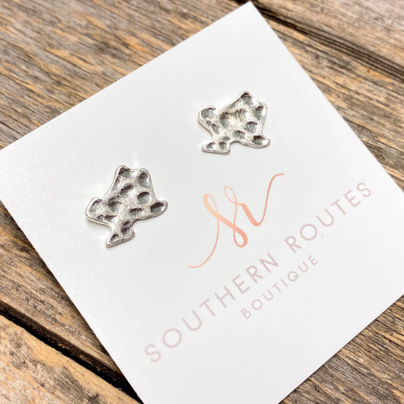 Hammered Texas Stud Earrings | Silver
