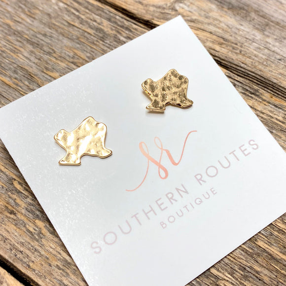 Hammered Texas Stud Earrings | Gold