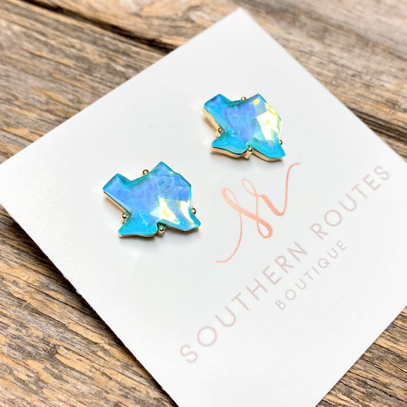 Beveled Texas Stud Earrings | Light Blue