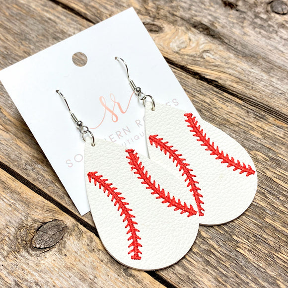 Stitched Leather Baseball Earrings