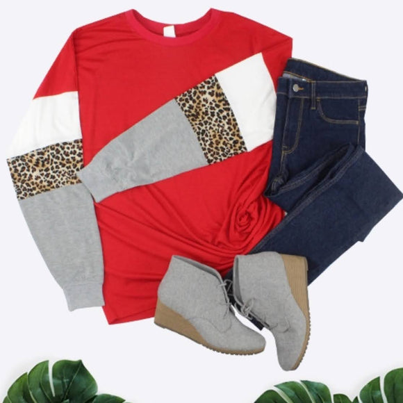 Game Day! | Red Leopard Jersey Top