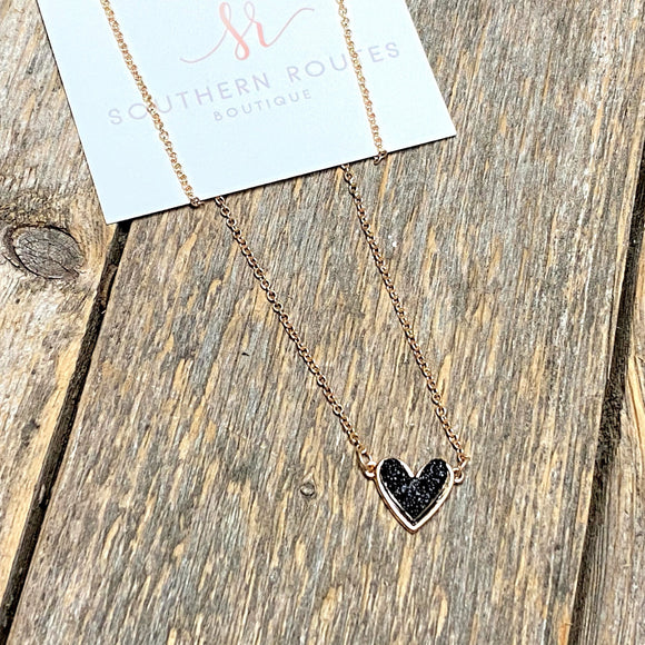 Black Heart Drusy Necklace