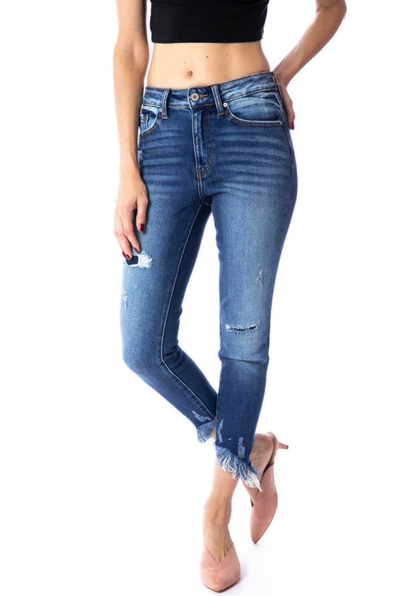 KanCan Frayed High Rise+Ankle Skinny Jeans
