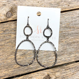 Double Drop Crystal Earrings | Gunmetal