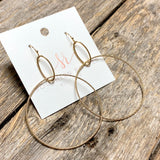 Double Drop Hoop Earrings | Gold