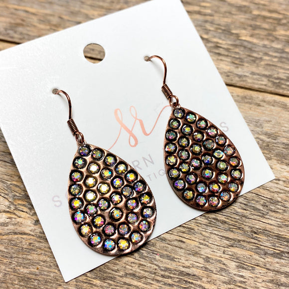 Small Rhinestone Earrings | Copper