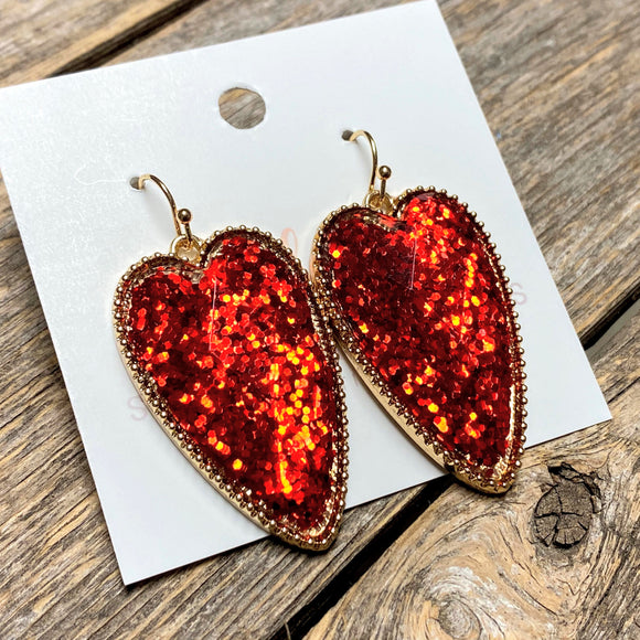 Beveled Heart Earrings | Glitter Red
