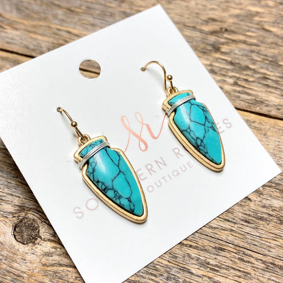 Petite Stone Arrow Earrings | Turquoise