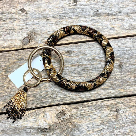 Seed Bead Leopard Bangle Key Ring