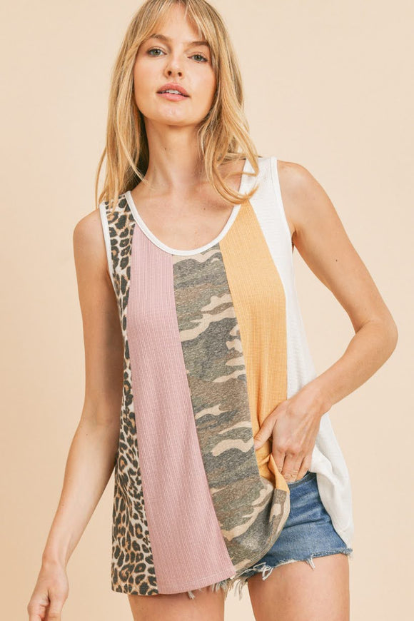 Leopard+Camo Colorblock Tank Top
