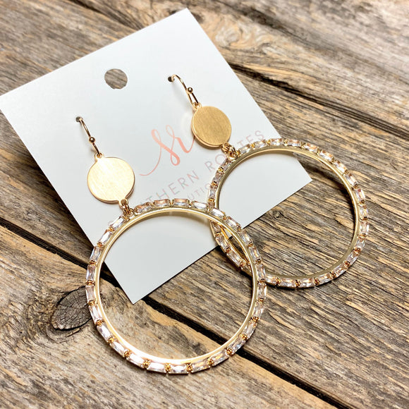 Crystal+Gold Hoop Drop Earrings