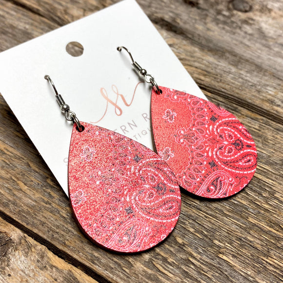 Wooden Western Earrings | Red Bandana