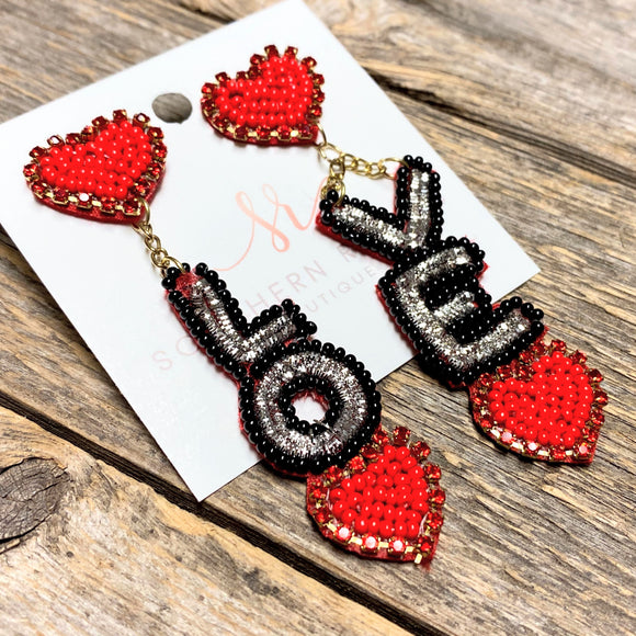 LOVE Beaded Valentine Earrings