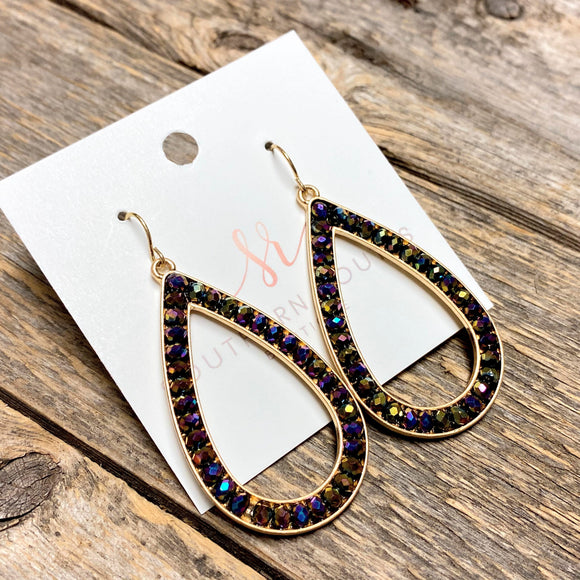Beaded Teardrop Earrings | Dark Iridescent