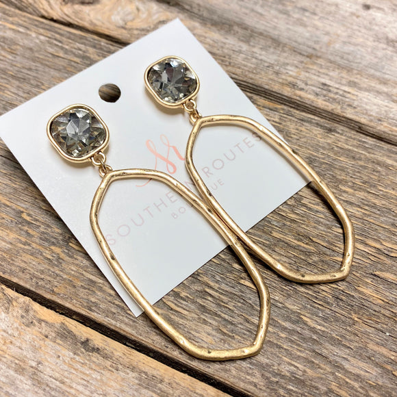 Crystal Stone Earrings | Gold