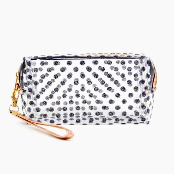 Clear+Black Polka Dot Rose Gold Cosmetic Bag